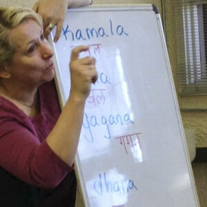 Cheryl teaching Sanskrit Devanagari